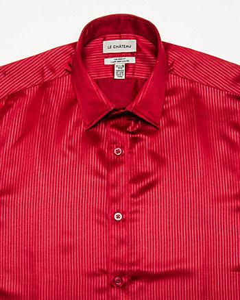 Tonal Stripe Satin Tailored Shirt