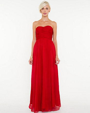 Chiffon Pleated Sweetheart Gown