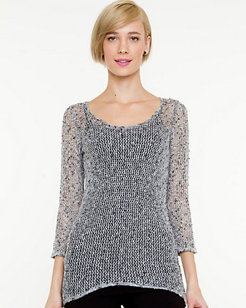 Open Stitch Scoop Neck Sweater