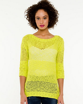 Open Stitch Boat Neck Sweater