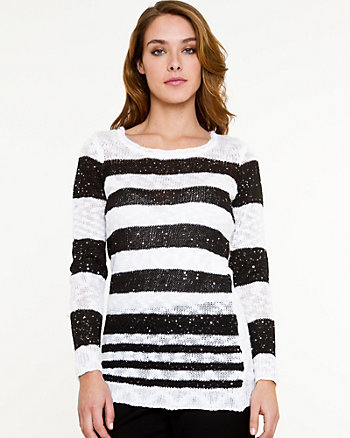 Sequin Stripe Scoop Neck Sweater