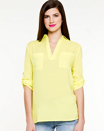Challis Roll-up Sleeve Blouse