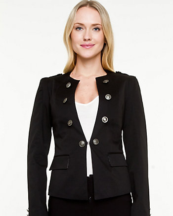Cotton Sateen Fitted Blazer