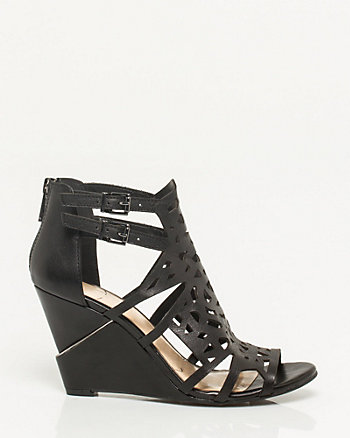 Leather Cut-out Wedge