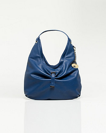 Pebbled Leather-like Hobo Bag
