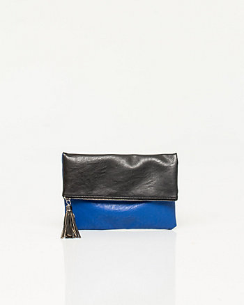 Leather-like Colour Block Crossbody Bag