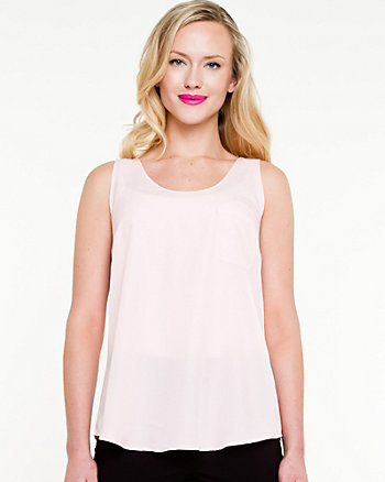 Crêpe de Chine Sleeveless Blouse