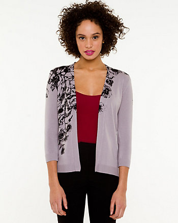 Floral Knit V-neck Cardigan