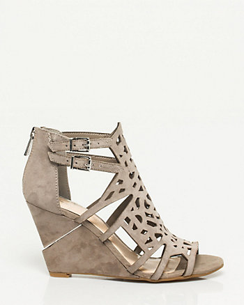 Suede Cut-out Wedge