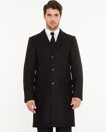 Wool Blend Notch Collar Crombie Coat