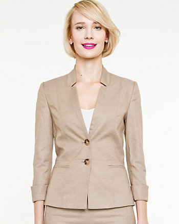 Woven Notch Collar Fitted Blazer
