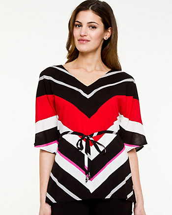 Gauze Stripe V-neck Blouse