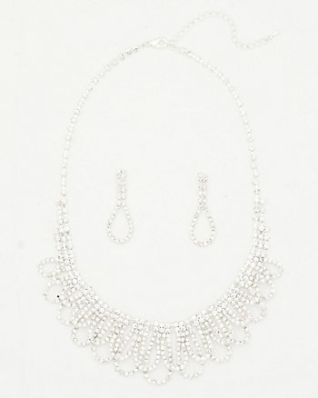 Gem Scalloped Necklace & Earring Set