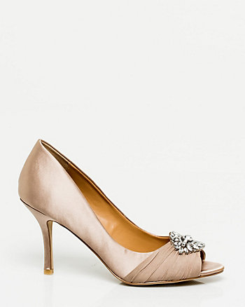 Satin Peep Toe D'Orsay Pump