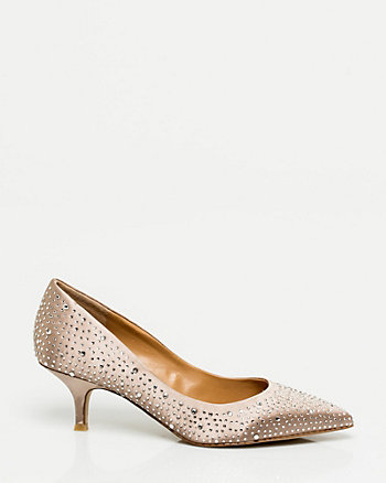 Jewel Encrusted Satin Pointy Toe Pump