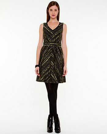 Tweed Ponte Fit & Flare Dress