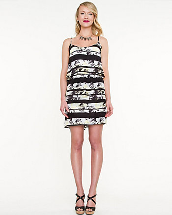 Stripe & Floral Blouson Jersey Dress