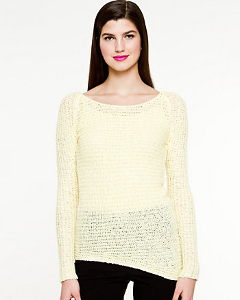 Textured Asymmetrical Hem Sweater