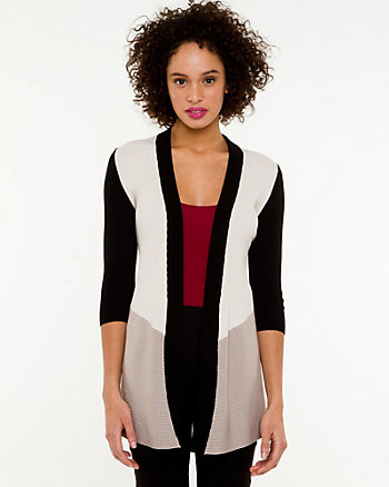 Viscose Blend Colour Block Cardigan