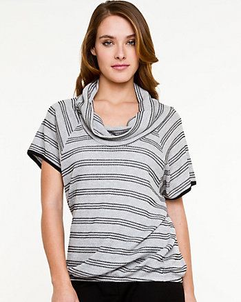 Stripe Knit Cowl Neck Top