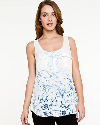 Floral Crêpe de Chine Sleeveless Blouse