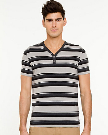 Stripe Knit Henley T-shirt