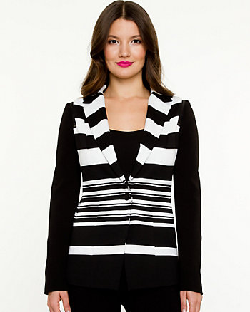 Ponte Knit Stripe Blazer