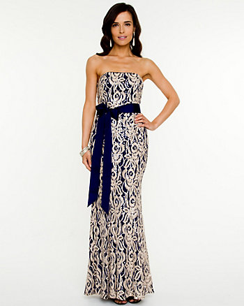 Sequin Corded Lace Gown