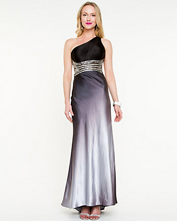 Satin Embellished Open Back Gown