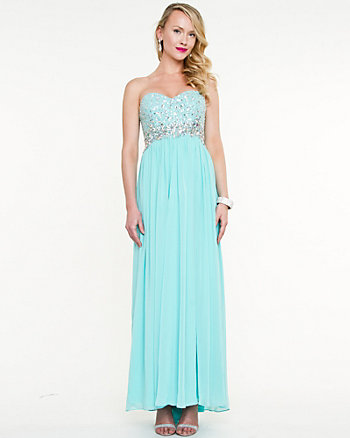 Embellished Chiffon Sweetheart Gown
