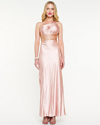 Satin Open Back Gown