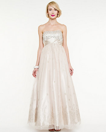 Sparkle Mesh Sweetheart Gown