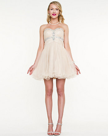 Sparkle Mesh Sweetheart Party Dress