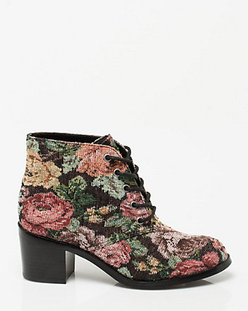 Tapestry Print Lace-up Bootie