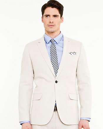 Linen Blend Notch Collar Jacket