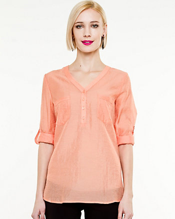 Gauze Roll-Up Sleeve Blouse