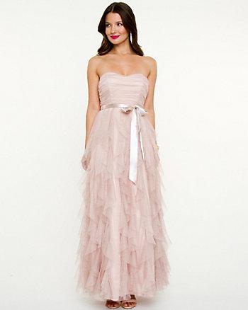Mesh Sweetheart Ruffle Gown