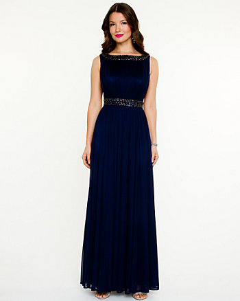 Embellished Illusion Gown