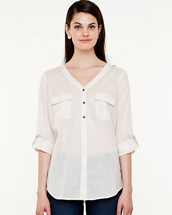 Voile Roll-up Sleeve Blouse
