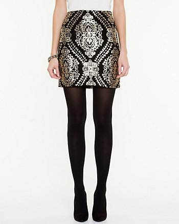 Baroque Print Mini Skirt