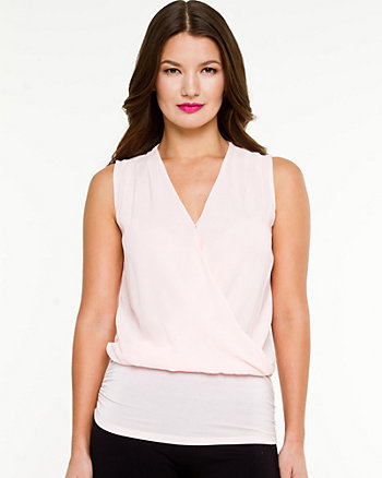 Chiffon & Knit V-Neck Top