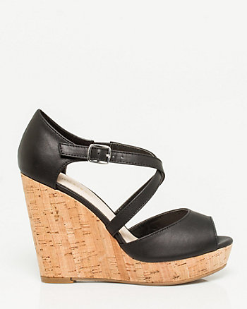 Leather-like Strappy Cork Wedge