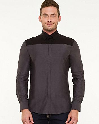 Cotton Chambray & Twill Slim Fit Shirt