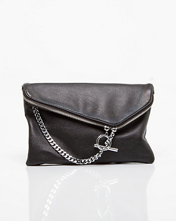 Leather-like Flapover Bag