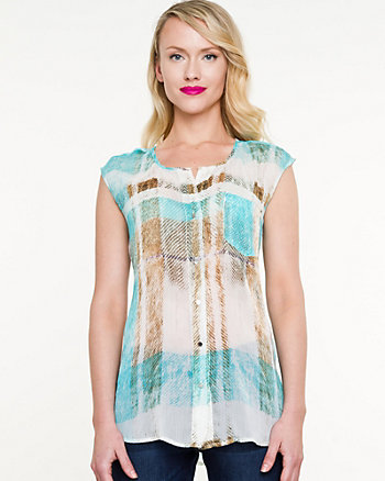 Check Print Sleeveless Blouse