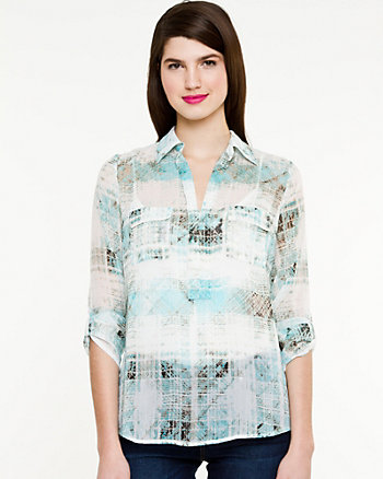 Check Print Shirt Dress