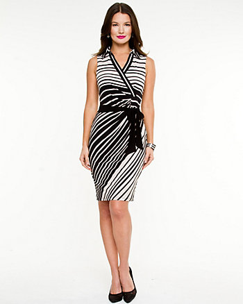 Stripe V-neck Wrap Dress