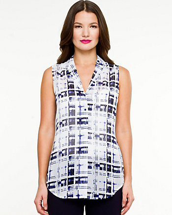 Chiffon Check Button-Front Blouse