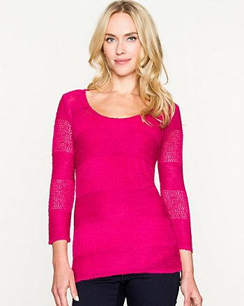 Open-Stitch Scoop Neck Sweater