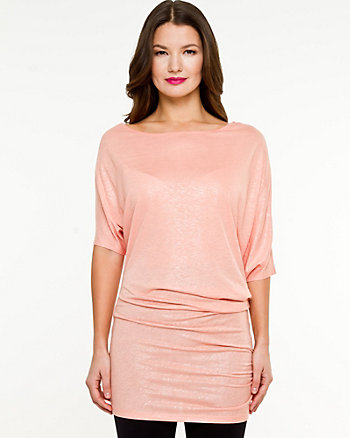 Linen Blend Off-the-Shoulder Tunic